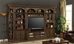 Aria 60 Inch TV Console 6 Piece Entertainment Wall in Antique Vintage Smoked Pecan Finish by Parker House - ARI-440-06