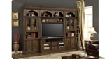 Aria 60 Inch TV Console 4 Piece Entertainment Wall in Antique Vintage Smoked Pecan Finish by Parker House - ARI-440-4