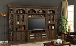 Aria 60 Inch TV Console 6 Piece Entertainment Wall in Antique Vintage Smoked Pecan Finish by Parker House - ARI-440-6