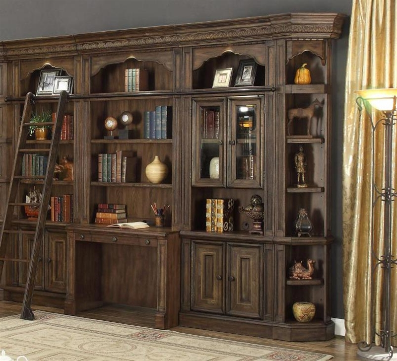 Aria 6 Piece Desk Library Wall In Antique Vintage Smoked