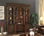 Aria 4 Piece Desk Library Wall in Antique Vintage Smoked Pecan Finish by Parker House - ARI-460-2-4