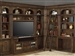 Aria 60 Inch TV Console 8 Piece Entertainment Desk Bookcase Library Wall in Antique Vintage Smoked Pecan Finish by Parker House - ARI-460-8
