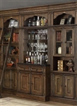 Aria 4 Piece Bar Unit Bookcase Library Wall in Antique Vintage Smoked Pecan Finish by Parker House - ARI-465-2-04