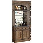 Aria 2 Piece Bar Base and Hutch in Antique Vintage Smoked Pecan Finish by Parker House - ARI-465-2