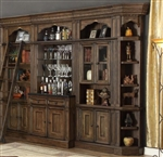 Aria 6 Piece Bar Unit Bookcase Library Wall in Antique Vintage Smoked Pecan Finish by Parker House - ARI-465-2-6