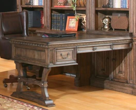 Aria Peninsula Desk In Antique Vintage Smoked Pecan Finish