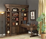 Aria 4 Piece Desk Bookcase Library Wall in Antique Vintage Smoked Pecan Finish by Parker House - ARI-490-4