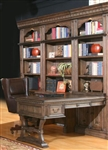 Aria 6 Piece Desk File Bookcase Library Wall in Antique Vintage Smoked Pecan Finish by Parker House - ARI-490-6