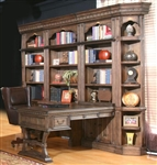 Aria 8 Piece Desk File Bookcase Library Wall in Antique Vintage Smoked Pecan Finish by Parker House - ARI-490-8