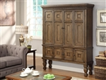 Aria 65 Inch 2 Piece Entertainment Armoire in Antique Vintage Smoked Pecan Finish by Parker House - ARI-6160-2