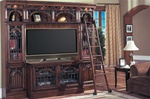Barcelona 4 Piece 60-Inch TV Entertainment Library Space Saver in Dark Red Walnut Finish by Parker House - BAR-402-4