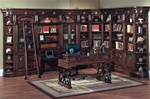 Barcelona 11-Piece Library Wall with Desk in Dark Red Walnut Finish by Parker House - BAR-440-11