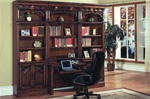Barcelona 4 Piece Library Wall with Desk in Dark Red Walnut Finish by Parker House - BAR-460-2-4