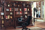 Barcelona 6 Piece Library Wall with Desk in Dark Red Walnut Finish by Parker House - BAR-460-2-6