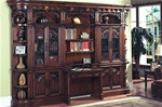 Barcelona 6 Piece Library Wall with Desk in Dark Red Walnut Finish by Parker House - BAR-460-2-6C