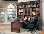 Barcelona 7-Piece Home Office Suite in Dark Red Walnut Finish by Parker House - BAR-500-7