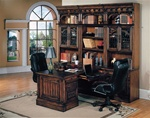 Barcelona 8-Piece Home Office Suite in Dark Red Walnut Finish by Parker House - BAR-500-8