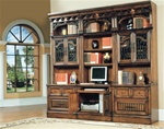 Barcelona 6-Piece Home Office Suite in Dark Red Walnut Finish by Parker House - BAR-520-6