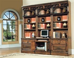 Barcelona 6-Piece Home Office Suite in Dark Red Walnut Finish by Parker House - BAR-530-6