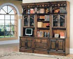 Barcelona 6-Piece Home Office Suite in Dark Red Walnut Finish by Parker House - BAR-560-6
