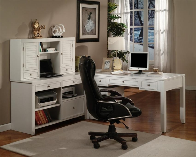 Boca 4 Piece Home Office Set In Cottage White Finish By