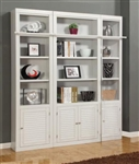 Boca 3 Piece Bookcase Library Wall in Cottage White Finish by Parker House - BOC-411-3BC