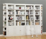 Boca 6 Piece Bookcase Library Wall in Cottage White Finish by Parker House - BOC-411-6BC