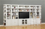 Boca 8 Piece TV Library Wall in Cottage White Finish by Parker House - BOC-411-8