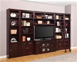 Boston 6 Piece TV Library Wall in Merlot Finish by Parker House - BOS-401-6
