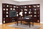 Boston 11 Piece TV Library Wall in Merlot Finish by Parker House - BOS-411-11