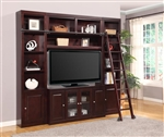 Boston 4 Piece TV Library Wall in Merlot Finish by Parker House - BOS-411-4