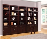 Boston 5 Piece Bookcase Library Wall in Merlot Finish by Parker House - BOS-430-5