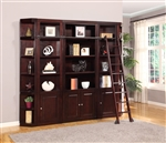 Boston 5 Piece Bookcase Library Wall in Merlot Finish by Parker House - BOS-450-5