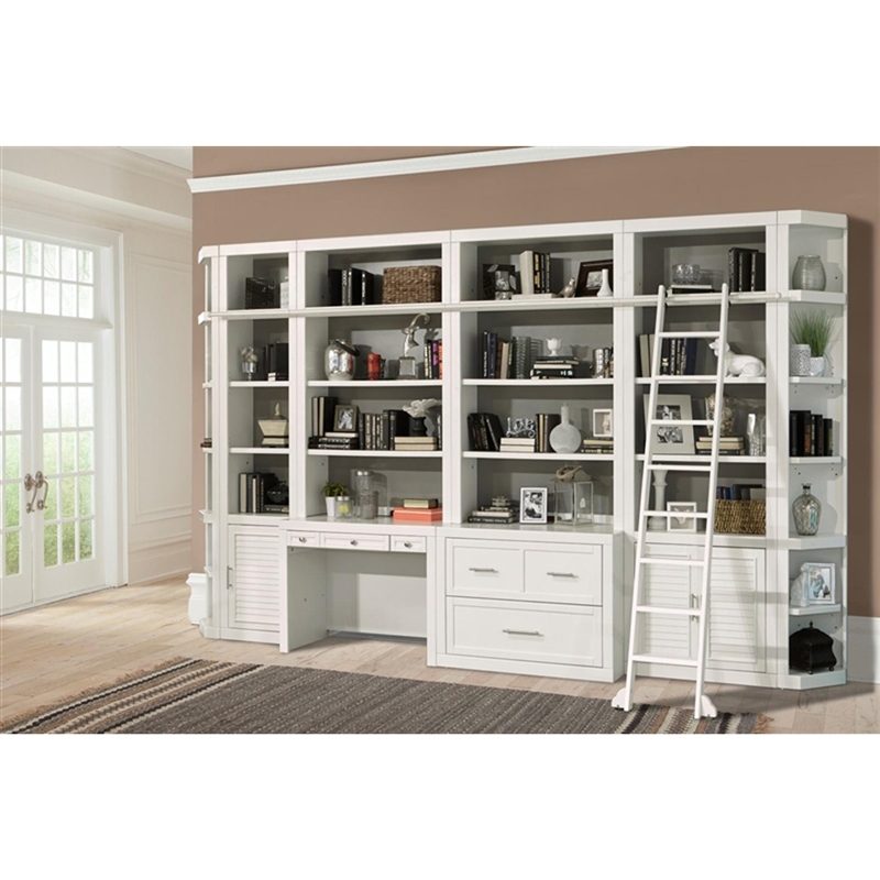 Catalina 8 Piece Home Office Bookcase Library Wall In Cottage White