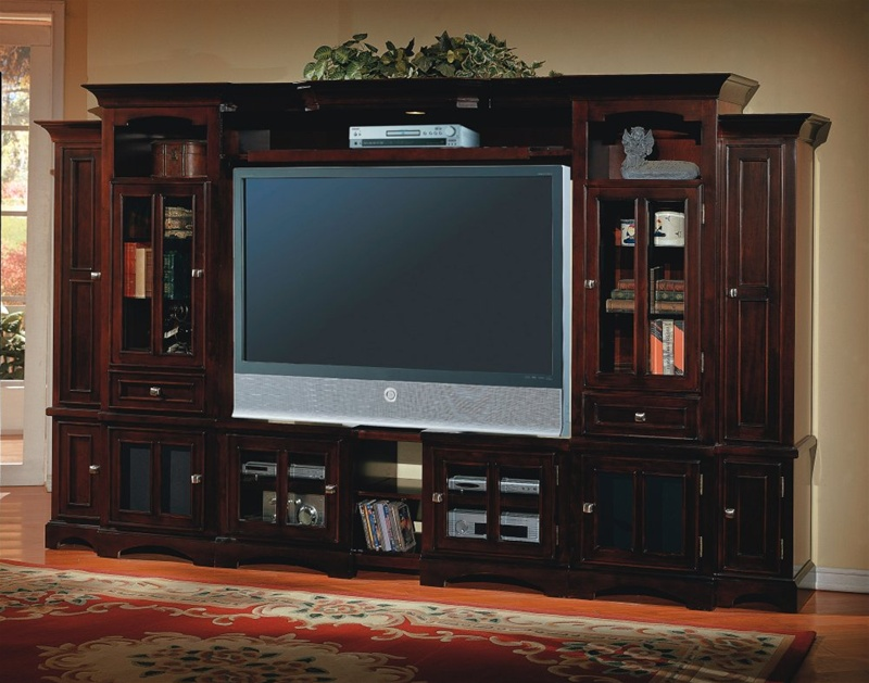 Home Entertainment Wall Units cherry hill 6 piece 48-72-inch tv wall unit in merlot finish