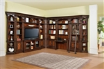 Corsica 11 Piece 60 Inch TV Console Bookcase Library Wall in Antique Vintage Dark Chocolate Finish by Parker House - COR-412-11