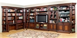 Corsica 14 Piece 60 Inch TV Console Desk Bookcase Library Wall in Antique Vintage Dark Chocolate Finish by Parker House - COR-412-14
