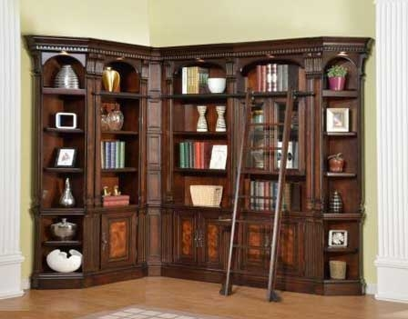 Corsica 6 Piece Corner Bookcase Library Wall In Antique Vintage Dark Chocolate Finish By Parker