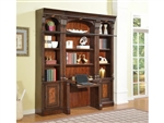 Corsica 2 Piece Library Desk in Antique Vintage Dark Chocolate Finish by Parker House - COR-460-2