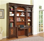 Corsica 4 Piece Library Desk Bookcase in Antique Vintage Dark Chocolate Finish by Parker House - COR-460-2-4