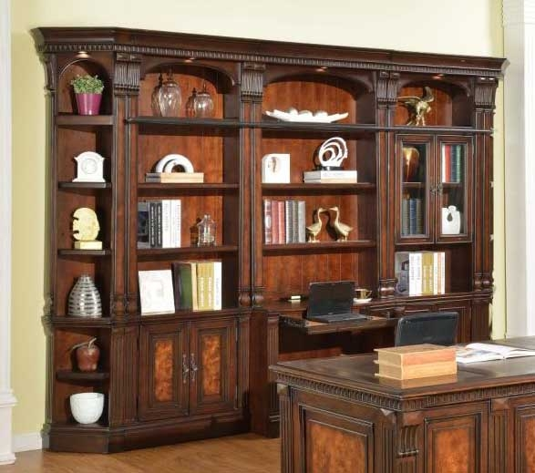 Mahogany Home Library Office: Corsica 6 Piece Home Office Bookcase Library Wall In