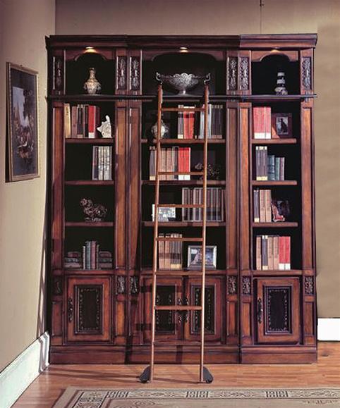Davinci 3 Piece Library Bookcase In Dark Chestnut Finish By Parker