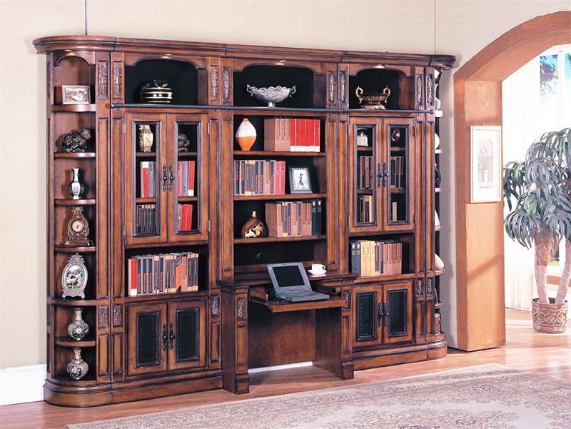 Davinci 6 Piece Library Bookcase Wall With Desk In Dark Chestnut