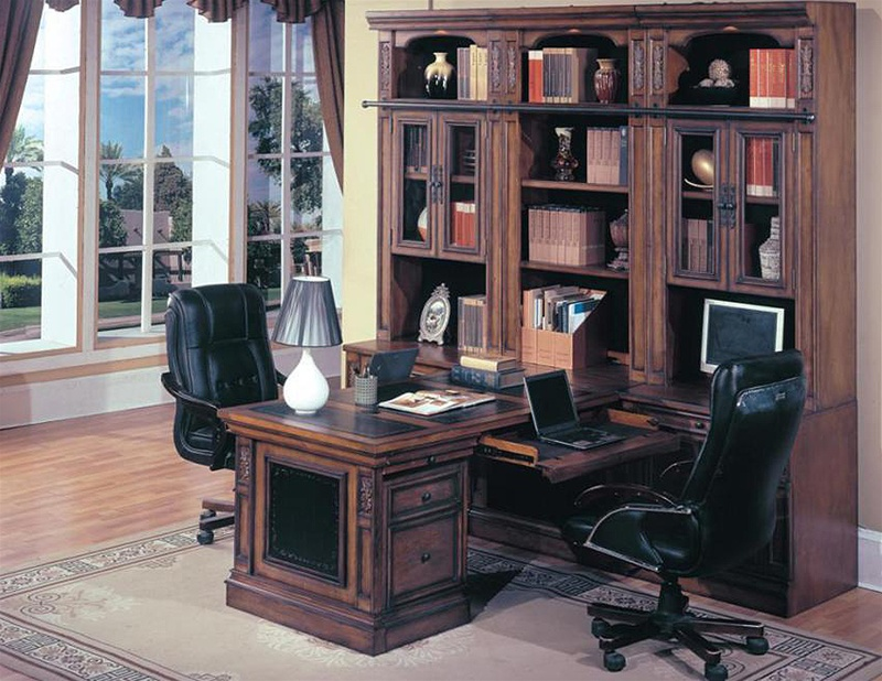 Davinci 8 Piece Peninsula Desk Home Office Suite In Dark Chestnut Finish By Parker House Dav 575