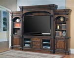 Genoa 66-Inch TV 5Pc Wall System in Antique Vintage Dark Pecan Finish by Parker House - GEN-610-5WS