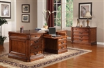 Grand Manor Granada 2 Piece Executive Home Office Set in Antique Vintage Walnut Finish by Parker House - GGRA-9080-3-S