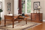 Grand Manor Granada 2 Piece Executive Home Office Set in Antique Vintage Walnut Finish by Parker House - GGRA-9085-S
