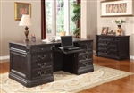 Grand Manor Palazzo 2 Piece Executive Home Office Set in Vintage Burnished Black Finish by Parker House - GPAL-9080-3-S