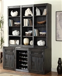 Hudson 6 Piece Entertainer's Unit Bookcase Library Wall in Vintage Midnight Finish by Parker House - HUD-06-ENTER