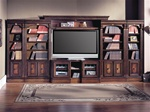 Huntington 6 Piece Inset Entertainment Wall Unit in Chestnut Finish by Parker House - HUN-415X-6